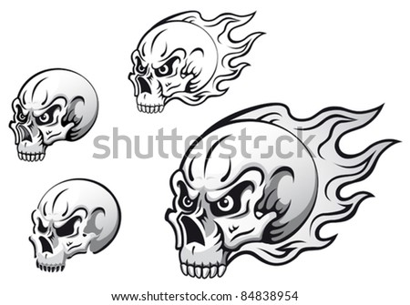 Danger evil skulls with flames as a tattoos isolated on white background. Rasterized version also available in gallery - stock vector