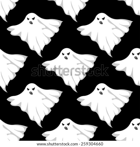 Danger ghosts seamless pattern for halloween or any eerie design - stock vector