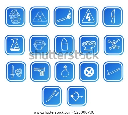 Danger icons set - stock vector