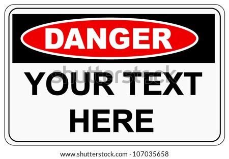 Danger label sign on white - stock vector