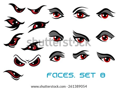 Danger monster aand evil red eyes set for faces depicting a range of expressions - stock vector