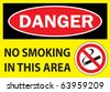 danger no smoking - stock vector