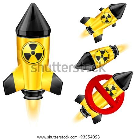 Danger nuclear retro rocket ship, stylize vector illustration. - stock vector