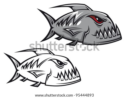 Danger piranha fish in cartoon style isolated on white background, such a logo - stock vector