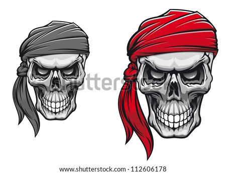 Danger pirate skull in bandane for tattoo or t-shirt design. Jpeg version also available in gallery - stock vector