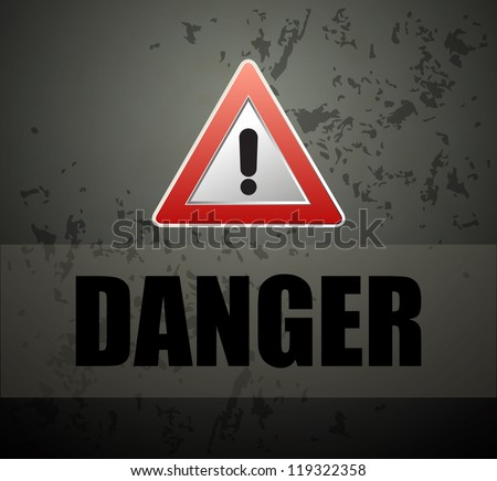 Danger prevention with sign and text vector - stock vector