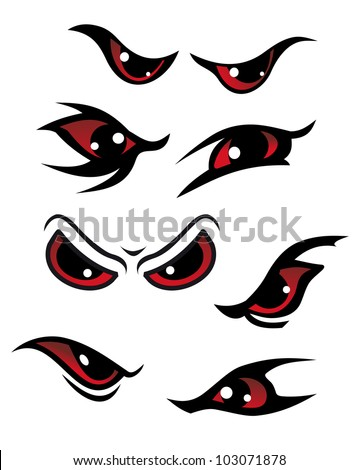Danger red eyes set isolated on white background for mystery design, such logo. Jpeg version also available in gallery - stock vector