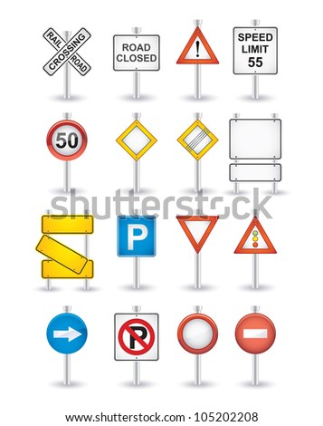 danger road signs set - stock vector