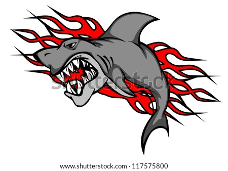 Danger shark with tribal flames for tattoo or mascot design, such a logo template. Jpeg version also available in gallery - stock vector
