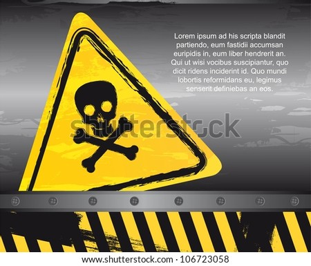 danger sign over grunge background. vector illustration - stock vector