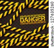 Danger sign under police lines and danger tapes. Vector illustration. - stock vector