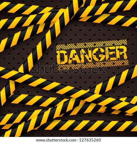 Danger sign under police lines and danger tapes. Vector illustration. - stock vector