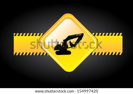 danger signal over black background  vector illustration - stock vector