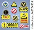 Danger signs, buttons and icons. EPS10. - stock vector