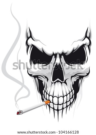 Danger skull smoke a cigarette for t-shirt design. Jpeg version also available in gallery - stock vector