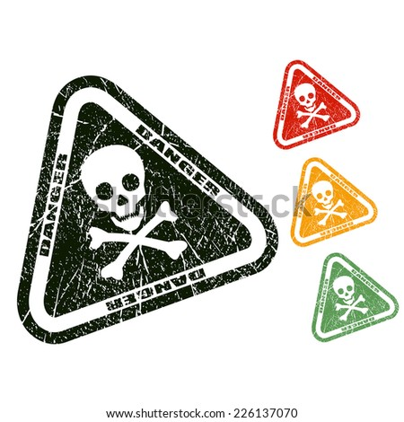 Danger skull stamp - stock vector