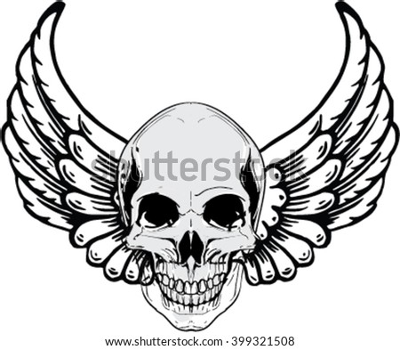 Danger smiling skull with wings for tattoo design. Vector version also available in gallery - stock vector