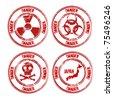 danger stamp set - stock photo