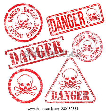 Danger stamps. Different shape vector rubber stamp illustrations  - stock vector