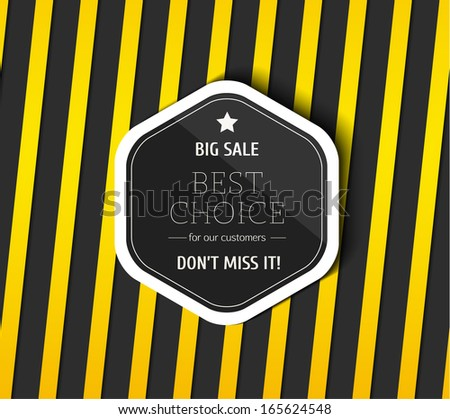 Danger tapes on dark background. Sale label with shadow. Vector illustration. - stock vector