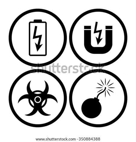 danger vector icon set - stock vector