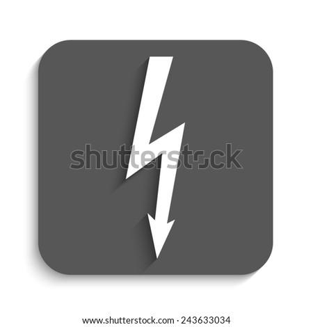 danger - vector icon with shadow on a grey button - stock vector