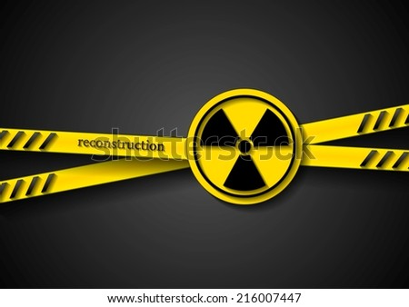 Danger vector tape abstract background with radiation symbol