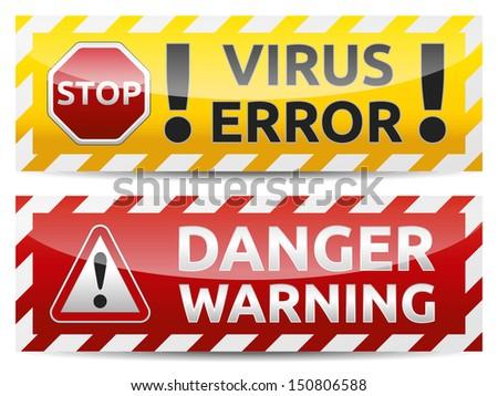Danger virus warning and danger banner. Isolated, multicolor version on white background. - stock vector