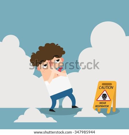 Danger wear respirator caution sign.illustration vector - stock vector