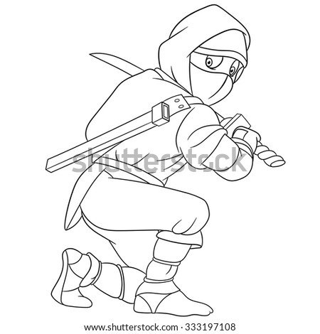 dangerous and martial ninja is holding a sword - stock vector