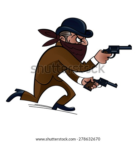 Dangerous gangster with two guns, bank robber - stock vector