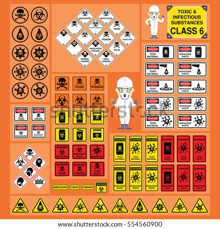Dangerous Goods Hazardous Materials Set Signs Stock Photo Photo