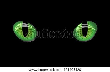Dangerous green eyes on black background, vector Illustration - stock vector
