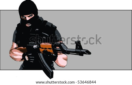 Dangerous guy with AK-47 rifle and balaclava - stock vector