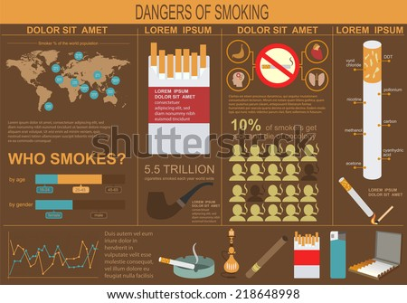 Dangers of smoking, infographics elements. Vector illustration - stock vector