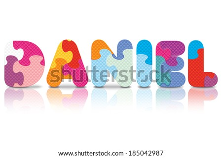 DANIEL written with alphabet puzzle - vector illustration