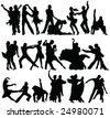 danse couples high quality silhouettes collection - vector - stock vector