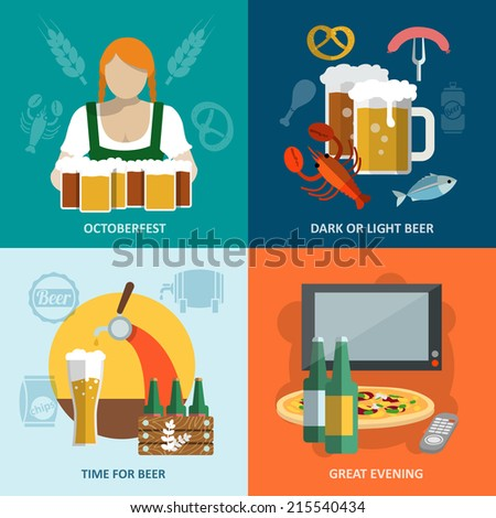 Dark and light beer Oktoberfest great evening flat icons set isolated vector illustration - stock vector