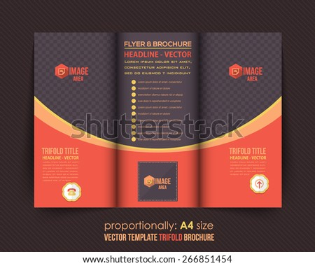 Dark and Red Style Business Tri-Fold Brochure Design. Corporate Leaflet, Cover Template - stock vector