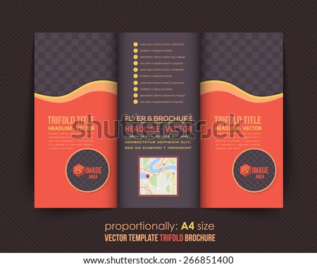 Dark and Red Style Multicolor Tri-Fold Brochure Design. Corporate Leaflet, Cover Template - stock vector