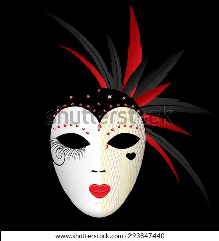 dark background and the large white-red carnival mask - stock vector