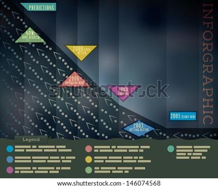 Dark Background Infographics Template  - stock vector