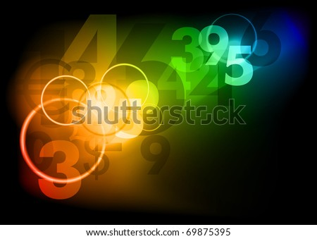 Dark background with color numbers - stock vector
