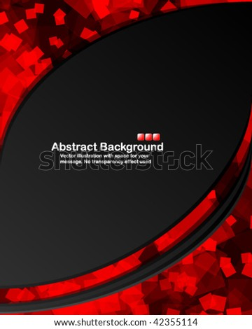 Dark background with random transparent red squares. Vector illustration in RGB colors. - stock vector