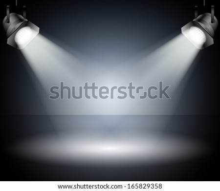 Dark background with spotlights. Studio. - stock vector