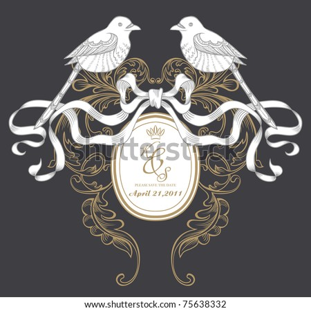 dark background with very fine hand-drawn birds and frame - stock vector