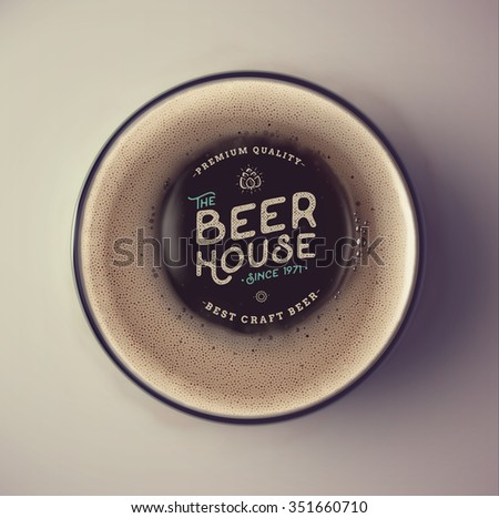 Dark beer cup, top view, beer house, eps 10