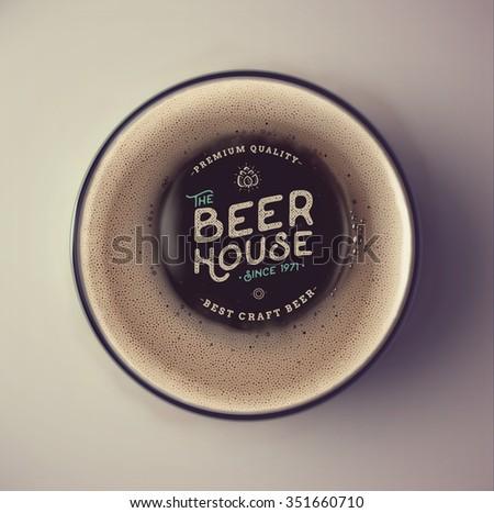 Dark beer cup, top view, beer house, eps 10 - stock vector