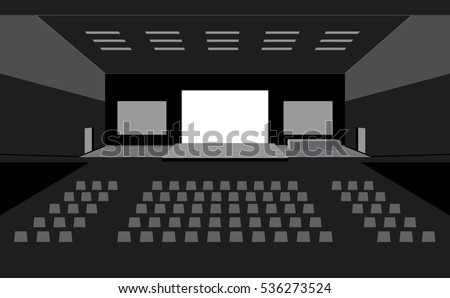 Dark big concert cinema hall with three large screens interior vector illustration