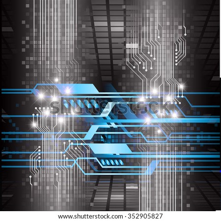Dark black blue Light Abstract Technology background for computer graphic website internet and business. circuit. vector illustration. infographics. motion move blur.neon. pixel.